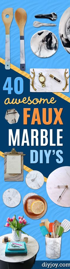 DIY Faux Marble Ideas - Easy Crafts and DIY Projects With Faux Marbling Tutorials - Paint and Decorate Home Decor, Creative DIY Gifts and Office Accessories via @diyjoycrafts