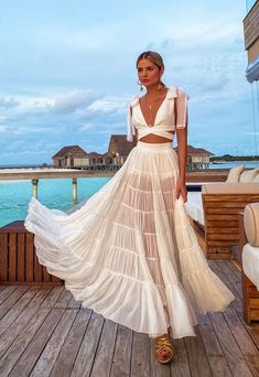 Boho Outfits, Casual Outfits, Summer Outfits, Cute Outfits, Elegant Outfit, Romantic Outfit, Beachwear Fashion, Summer Trends, Aesthetic Clothes