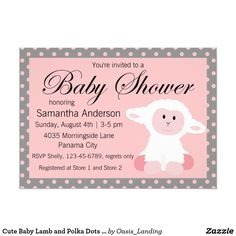 Cute Baby Lamb and Polka Dots Baby Shower Card - A baby lamb invitation in pink and gray for a girl baby shower, sold at Oasis_Landing on Zazzle.
