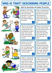 Describing People ESL Printable Worksheets and Exercises