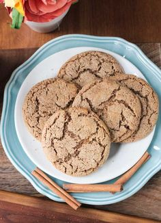 Cinnamon Sugar Cookies - perfectly chewy, sweet, and packed with warm cinnamon. With only 6 ingredients, these gluten free cookies are quick and easy!