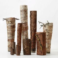 group of bark vessels by jane bevan.  http://pachadesignjournal.blogspot.co.uk/2012/06/contemporary-craft-festival-2012.html#