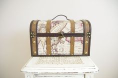 Large Trunk with Map - Wedding Card Box - Travel Themed, Vintage Style. $70.00, via Etsy.