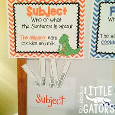 Subject and predicate, Subject & predicate, grammar gator, lesson plan, anchor chart, mini-lesson Writing Sentences, Sentence Writing, New Vocabulary Words, Sentence Strips, Subject And Predicate, Learning Stations, Sentence Structure, Read Aloud, Anchor Charts