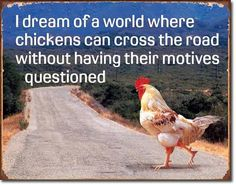 Chicken Cross Road Motive Rooster Country Kitchen Farm Funny Picture Metal Sign | eBay
