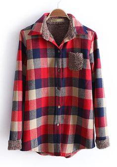 Dark Red Plaid Lapel Pocket Thick Cotton Blouse
