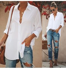 White Blouse Outfit, White Shirt Outfits, Button Down Shirt Outfit Casual, White Shirt And Jeans, White Button Down Shirt, Casual Shirts, Button Downs, Mode Outfits, Fashion Outfits