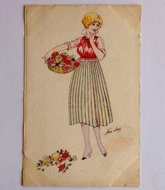 CPA. Xavier SAGER. SÉRIE N°15. OFFRE DE FLEURS. Aquarellée. Panier de fleurs. Napkins, Basket Of Flowers, Towels, Dinner Napkins