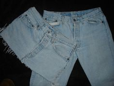Make your own jean skirt out of old blue jeans. Upcycled Clothing, Clothing Ideas, Denim Ideas, Jean Skirt, Diy Clothes, Dyi, Blue Jeans, Mom Jeans, Sewing Projects