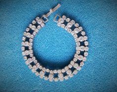 Mid Century Clear Rhinestone Tennis Bracelet, Silver Tone Setting, Checkerboard Pattern