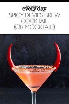 Spicy Devil's Brew – Rachael Ray Every Day Spicy Devil's Brew This Halloween cocktail (or Halloween mocktail!) has the cutest garnish ever! Party Drinks, Fun Drinks, Alcoholic Drinks, Spicy Drinks, Beverages, Halloween Fingerfood, Halloween Food For Party, Halloween Cocktails, Cocktail Garnish
