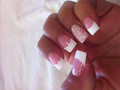 French nails with glitter ring finger