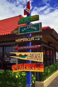 Lanikai Kailua Waikiki Beach Signs, Oahu, Hawaii
