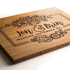 Personalized Cutting Boards & Custom Wedding Gifts by WoodKRFT Custom Cutting Boards, Engraved Cutting Board, Diy Cutting Board, Personalized Cutting Board, Cnc Projects, Woodworking Projects Plans, Top Wedding Trends, Wedding Ideas, Personalized Wedding Gifts