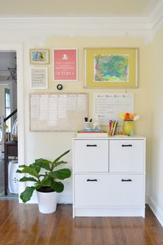 The most amazing office command center ever!  Dry erase magnets - genius.  Some Overdue Office Organization | Young House Love