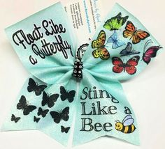 Float Like a Butterfly Sting Like a Bee Sublimated Cheer Bow Volleyball Bows, Cheerleading Bows, Cute Cheer Bows, Big Bows, Sting Like A Bee, Float Like A Butterfly, Pink Out, All Star Cheer, Cheer Gifts