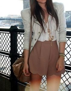 Golden anchor necklace, blazer and skirt for summers. Click on the pic for more outfits
