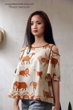 made with Reproduction old pattern of Batik cirebon  .. Lovely and Romantic A Line Hem with bell shaped sleeves, Shoulder Cutout Top....