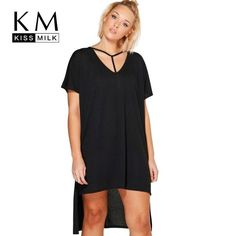 Kissmilk 2018 Big Size New Fashion Women Clothing Casual Solid Split Summer Dress  Plus Size Basic Dress 1644f187cfb7