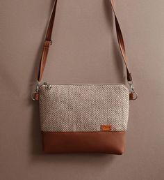 Shoulder bag Beige chevron tweed Crossbody bag Handbags Purse