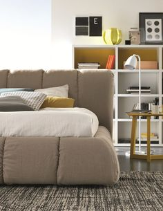 Upholstered linen double #bed SHARPEI by SMA Mobili