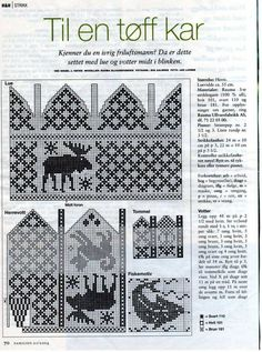 Knitting Patterns Mittens Knit Moose mittens and Hat charts Knitting Charts, Knitting Socks, Knitting Patterns Free, Hand Knitting, Stitch Patterns, Knitted Mittens Pattern, Crochet Mittens, Knit Or Crochet, Knitting Designs