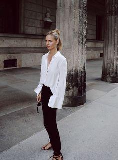 white shirt minimal look