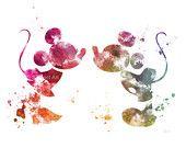 Mickey and Minnie Mouse ART PRINT illustration, Disney, Home Decor, Nursery, Wall Art
