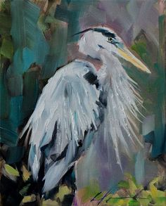 Giant Blue and Gray Heron Bird in Trees North by hartart13 on Etsy, $165.00