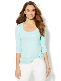 Sequin Madison 3/4-Sleeve Tee - New York - large or XL- mint color or black
