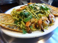 Special for the week of 10/22/12 at George's Greek Cafe on 5th and Flower: Shrimp Pesto Pasta.