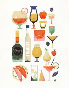"""""""The Happy Hour Poster"""" by Sol Linero #illustration #drinks #itsnotfridayyet"""
