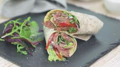 These wraps using thin cut beef steaks, kale, onion and peppers are quick to prepare and cook. Perfect for brunch or a light supper with a crisp salad. Easy Steak Recipes, Lamb Recipes, Dinner Recipes, Cooking Recipes, Beef Steaks, Beef Sirloin, Red Pepper Recipes, Beef Wraps, Red Peppers