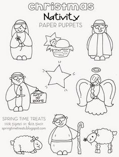 Nativity paper puppets - FREE printables. Color, tape to popsicle sticks for a show!