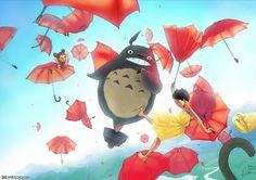 Volando con Totoro :-D #FanArtGhibli