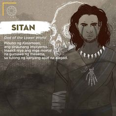 Sitan, is the god of the lower world, a leader of the evil of the ancient hell. He encourages the mortal to commit sin, with the help of his four disciples. Filipino Words, Filipino Art, Filipino Culture, Filipino Tattoos, Mythology Books, World Mythology, Mythological Creatures, Mythical Creatures, Cultura Filipina