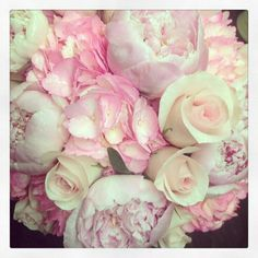 Peonies, roses & hydrangeas perfect wedding bouquet.  Could add purple