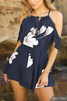US$17.95 #Square-neck #Lace-up #Random #Floral #Print #Playsuit# in# Navy