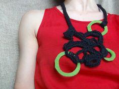 Felt necklace statement jewelry free form crochet by WearitCrochet