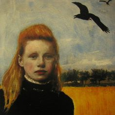 "A mixed media paintings on heavy archival german etching/Hannemuhle paper. Artist...is Maud Starr. ""Girl and a #Crow."""