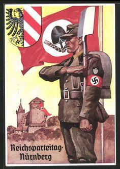 old postcard: AK Nürnberg, Reichsparteitag, Burg mit Hakenkreuzfahne, SS-Mann in Uniform mit Hakenkreuzarmbinde