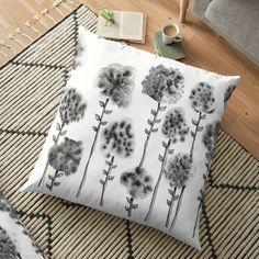 'Ink Flowers' Floor Pillow by PounceBoxArt Floor Pillows, Throw Pillows, Chiffon Tops, V Neck T Shirt, Classic T Shirts, My Arts, Cushions, Ink, Art Prints