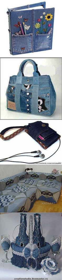 Most recent No Cost Fabric Ideas Popular I enjoy Jeans ! And a lot more I want to sew my own, personal Jeans. Next Jeans Sew Along I'm pl Jean Crafts, Denim Crafts, Upcycled Crafts, Diy Jeans, Artisanats Denim, Jean Purses, Denim Handbags, Denim Ideas, Recycled Denim