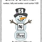 Use the pieces of a snowman to match numbers 1-20 to their number word and tally marks. This center is great for number order, identifying number w...