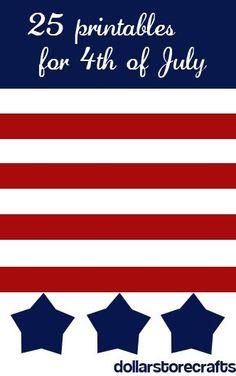 4th of July Freebies / Crafts / Printables @DollarStoreCrafts