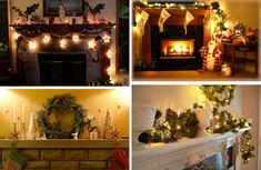 Interior: Vintage Mantelpiece Decorating Ideas With String Lights And Leafy Plant And Wreath Beside Candles For Pedestrian Christmas Home Interior Design, holiday mantel decorations, christmas decorating mantle ~ HarbortonHouse.com