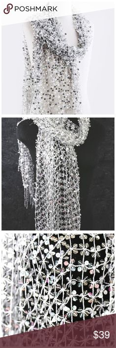 """B157 Silver Full Sequin Open Weave Metallic Scarf ‼️ PRICE FIRM UNLESS BUNDLED WITH OTHER ITEMS FROM MY CLOSET ‼️  Sequin  Scarf  Retail $145  Unbelievably gorgeous scarf!    Silver metallic sequin on silver metallic threaded netting.  Fairly lightweight so you can wear it year round.  Photos do not do justice to this scarf.  This scarf looks amazing with a basic black top or dress.  It creates the ultimate elegant look.  100% polyester.   72"""" long & 21"""" .  Please check my closet for…"""