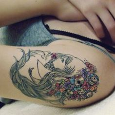 Cute flower girl tattoo    http://pinterest.com/treypeezy  http://twitter.com/TreyPeezy  http://instagram.com/treypeezydot  http://OceanviewBLVD.com