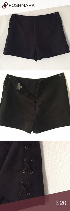 Black Faux Suede Shorts - High waist - Side lace up detail - Back zipper closure - Faux suede  - Runs small! Fits like XS - Barely worn - NO TRADES PLEASE :) Cotton Club Shorts
