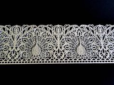SILVER Cake Lace Sugar Edible Strips Peacock Wedding Decor